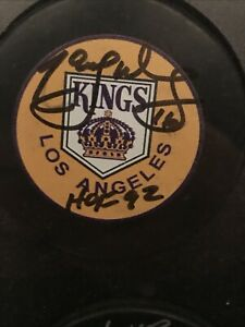 Marcel Dionne Signed Puck with HOF inscription!