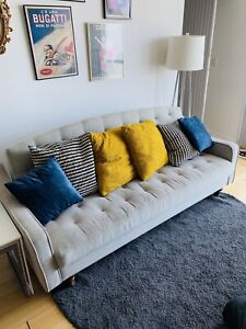Light grey convertible couch