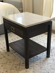 Heavy natural stone topped night table or end stand with drawer.