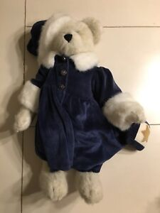 """17"""" white plush Boyd's Bear with blue dress and hat"""