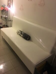 Oversized long white leather bench