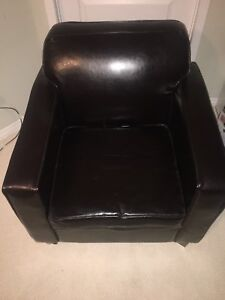 Dark Brown Faux Leather Chair and Ottoman