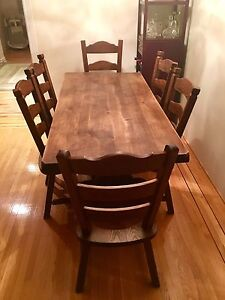 19th Century Antique French Solid Oak Farm Table with 6 chairs
