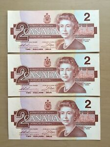 Lot 3 Vintage 1986 $2 Bird Series Canadian Banknotes UNC