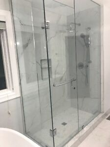 Glass shower door find or advertise skilled trade services frameless shower glass doors glass railing stairs decks mirrors planetlyrics Images