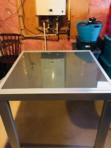 Structube Jasmine table and matching wall storage unit