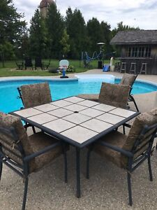 Patio Dinette Set with Cushions and a lounge