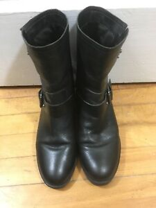 FRANCO SARTO blk leather moto boots - size 8