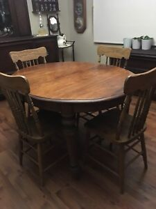 Antique table and four chairs