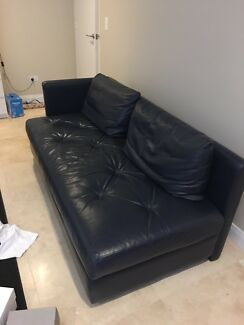Navy leather lounge ,two pieces,slide to see other pics