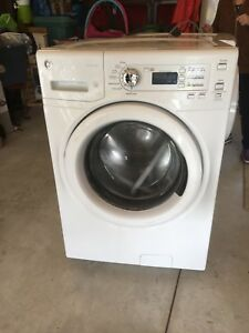 GE front load washer with matching dryer.