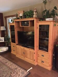 Custom built knotty pine entertainment unit/tv cabinet