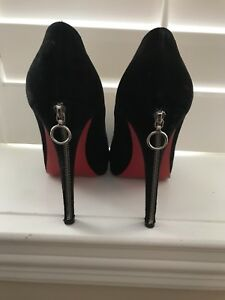 FOR SALE: AUTHENTIC Christian Louboutin blk suede zip pumps