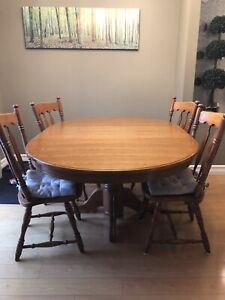 Classic wood dining room table and chairs