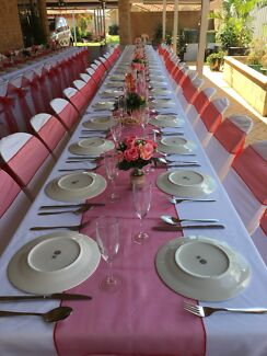 Plastic Pipee chairs, tables, plates, cutlery, glasses