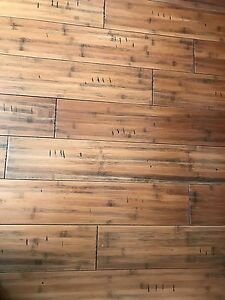 Hand scrapped bamboo floors