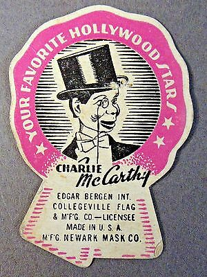 1930's CHARLIE McCARTHY Collegeville Halloween Costume PAPER TAG Newark Mask