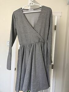 V-neck grey knee length dress