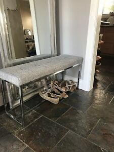 Grey fabric bench seat