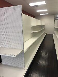 White steel store shelving