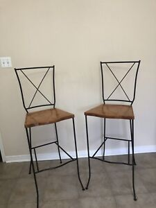 Solid Wood and Wrought Iron Bar stool