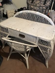 Wicker Desk / Vanity with chair