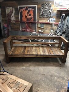 Outdoor wood patio couch