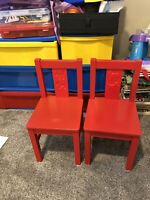 IKEA red kids chairs