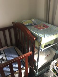 Cot, mattress, ikea high chair, change table with built in bath tub