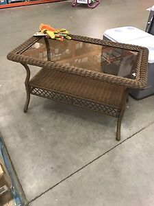 PATIO WICKER(RATTAN)COFFEE TABLE GLASS TOP BROWN NEW SPECIAL !!!