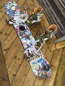 Burton snowboard, bindings, and boots setup