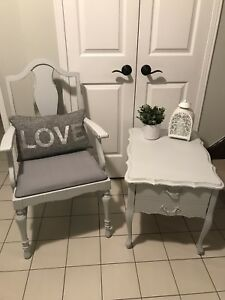 Solid wood refinished shabby chic chair and table set