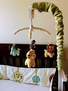 NOJO Jungle Tales crib bedding mobile like new