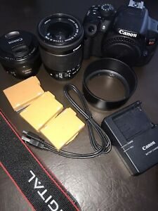 Canon T5i dslr camera + 2 lenses + 3 batteries
