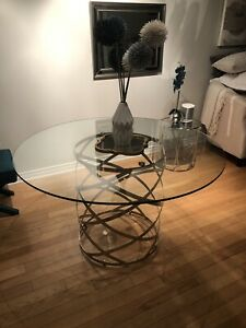 Barrymore - Dining Table - round glass top w/chrome base - $400