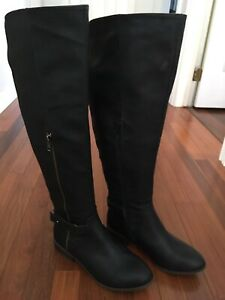 Black Leather Wide Boots Size 8