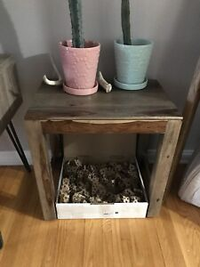 Real wood end table