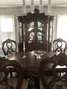 Table, 6 chairs, buffet cabinet