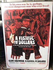 """Rare Clint Eastwood """"A Fistful of Dollars"""" movie poster mounted"""