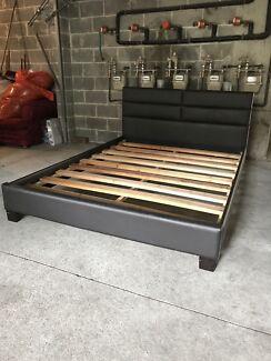 Leather Queen bedframe & also queen mattress if needed
