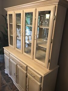 Solid maple hutch and buffet with matching 7' table and 6 chairs