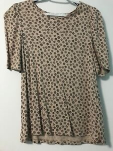 Brown and black polka-dot scoop-neck t-shirt -size: small