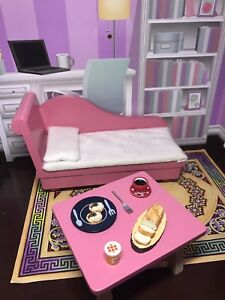 Barbie dollhouse furniture, sofa and table