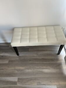 White leather entry bench