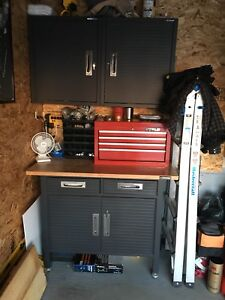 Work bench and Cabinets