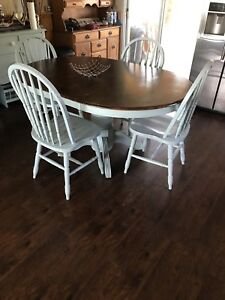 Real wood dining table & 4 chairs
