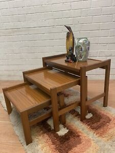 Retro midcentury nest of 3 teak coffee tables side tables Carlisle Victoria Park Area Preview
