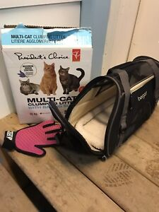Cat carrier, brushing glove, and litter