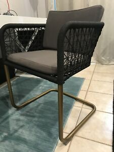 Rope woven black and brass arm chairs x 6
