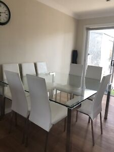 Glass Table and 8 Dining chairs $300